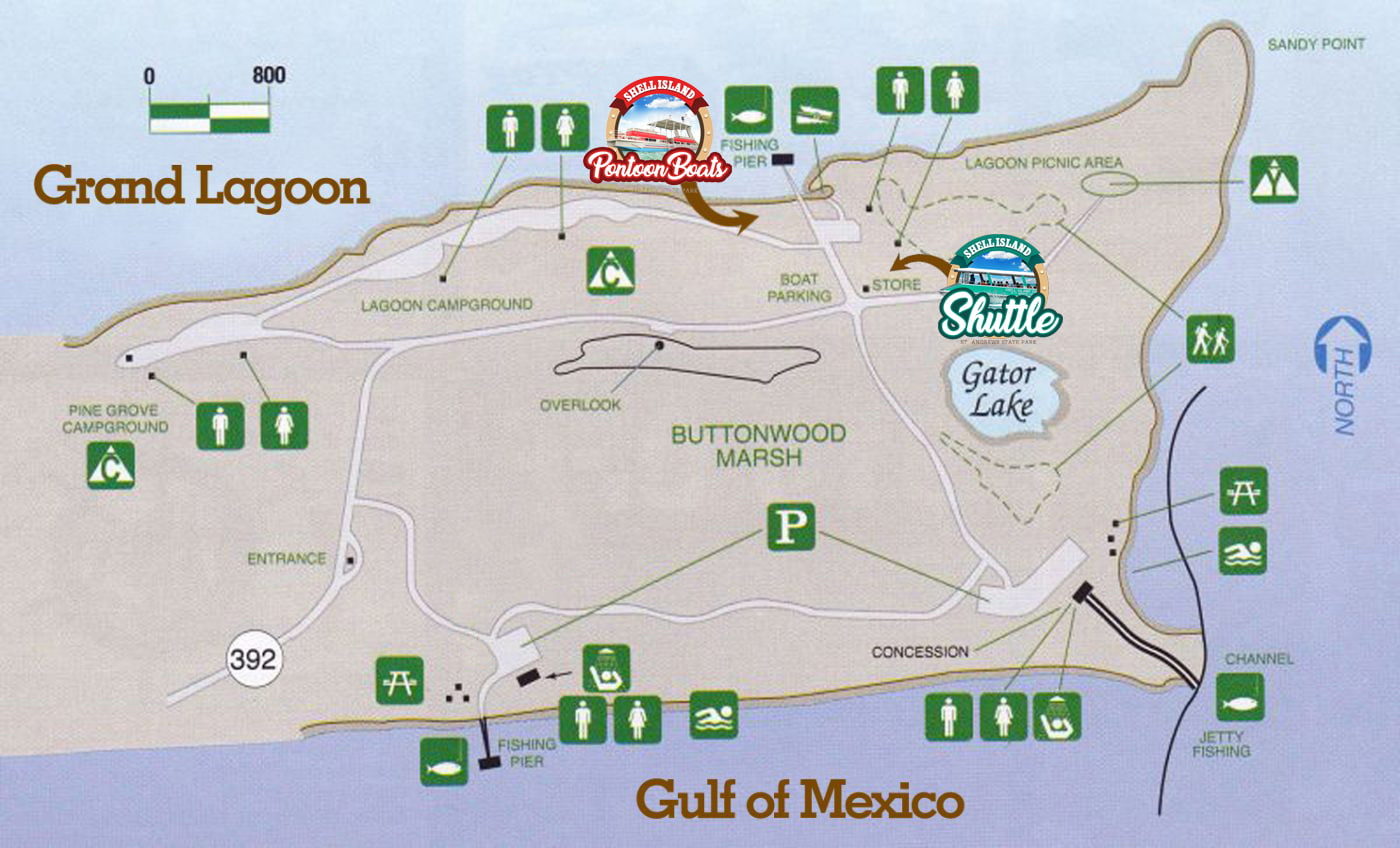 St Andrews State Park Map of Shell Island Shuttle and Pontoon Rentals